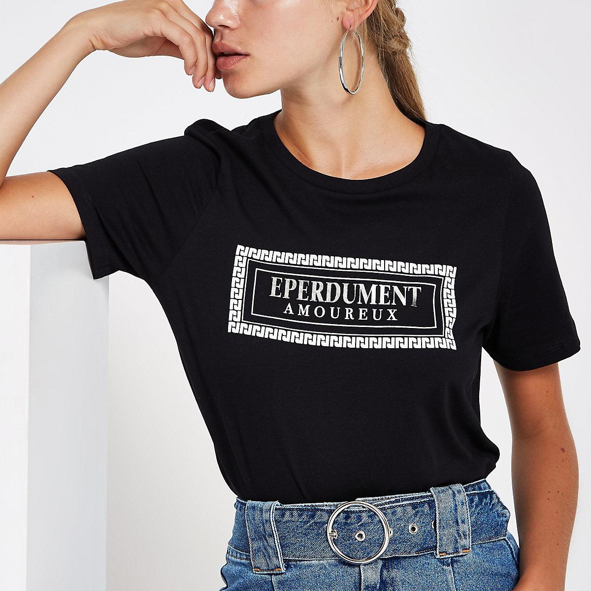 Zwart T-shirt met 'eperdument'-folieprint