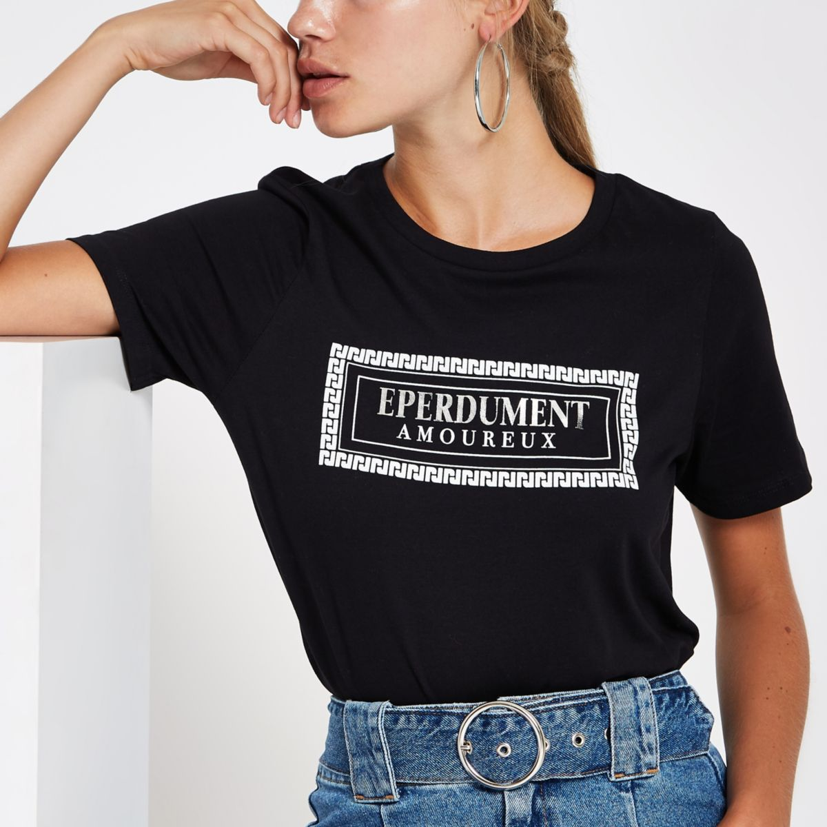 T-shirt imprimé «Éperdument» métallisé noir