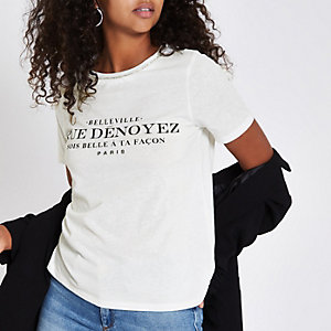 T-shirt ras-du-cou imprimé blanc à strass