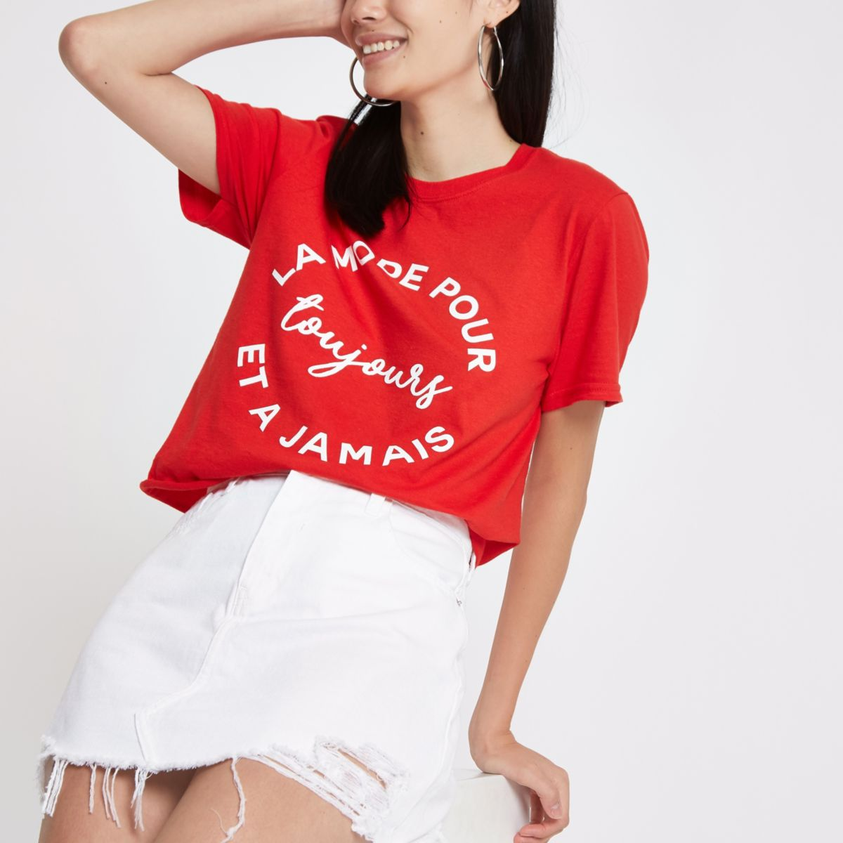 Red 'la mode pour' print cropped T-shirt
