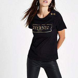 Zwart T-shirt met knopen op de schouder en 'Eternal'-print