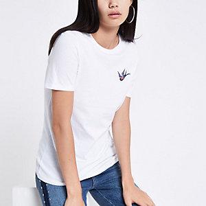 Wit T-shirt met geborduurde zwaluw