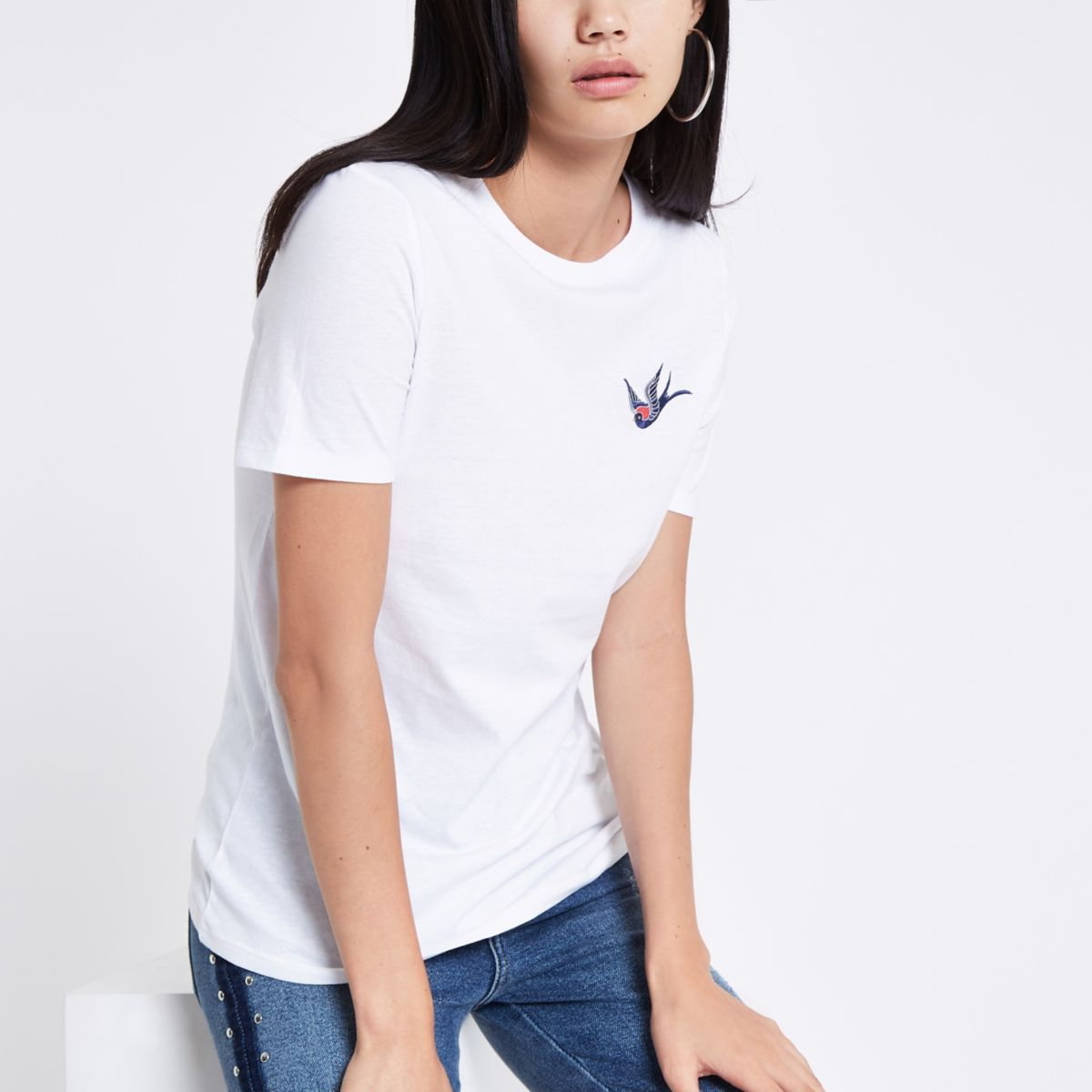 White swallow embroidered T-shirt