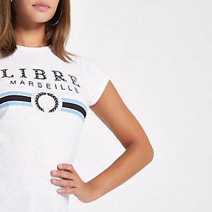 White 'Libre Marseille' fitted T-shirt