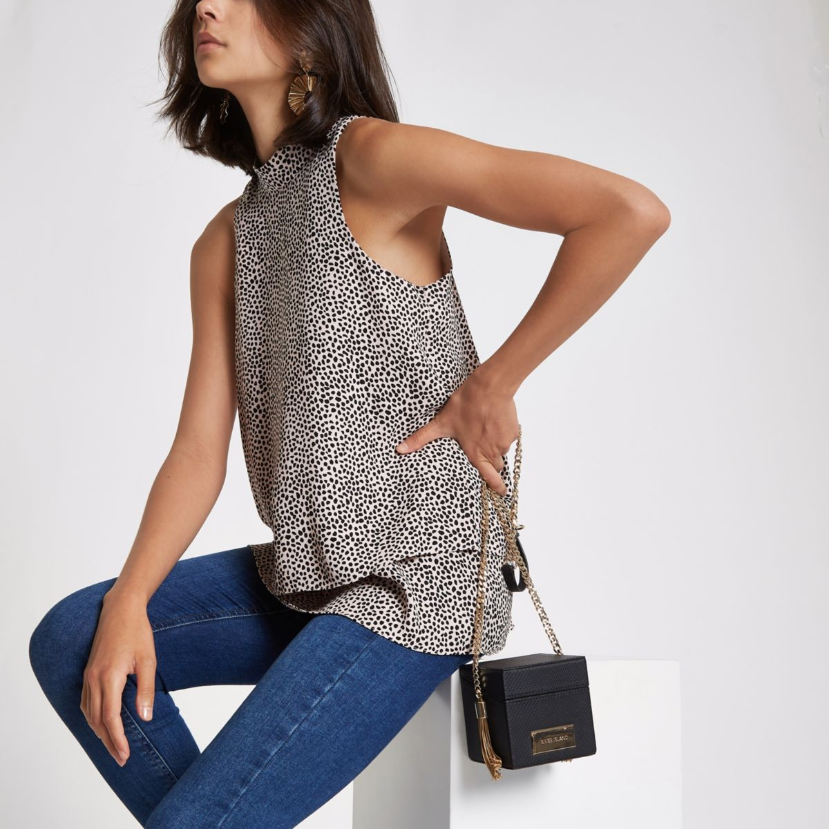 Beige spot halter neck double layer blouse
