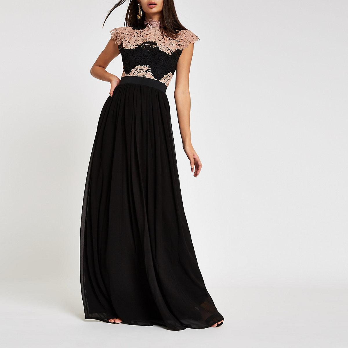 Forever Unique black lace maxi dress