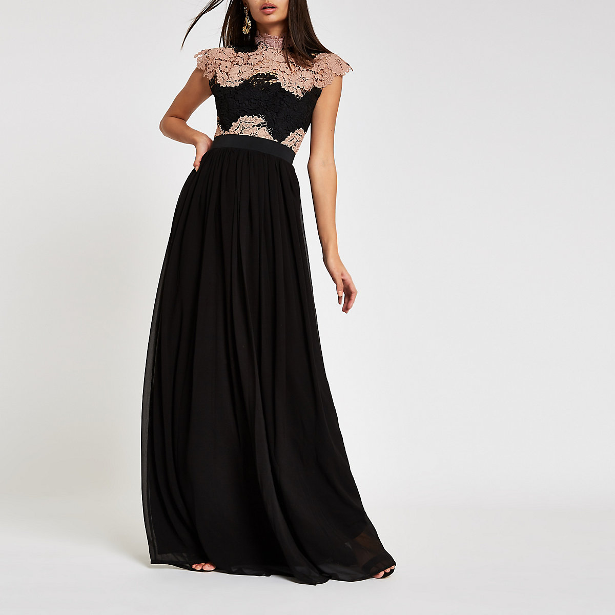 ​Forever Unique black lace maxi dress