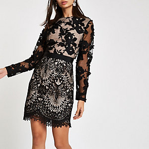 Forever Unique – Bodycon-Kleid aus schwarzer Spitze