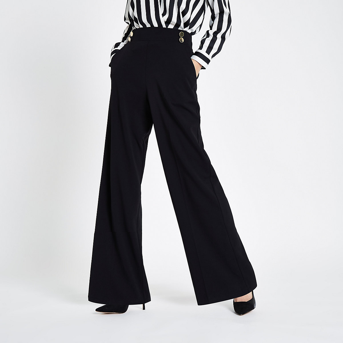 Black double button wide leg pull on trousers