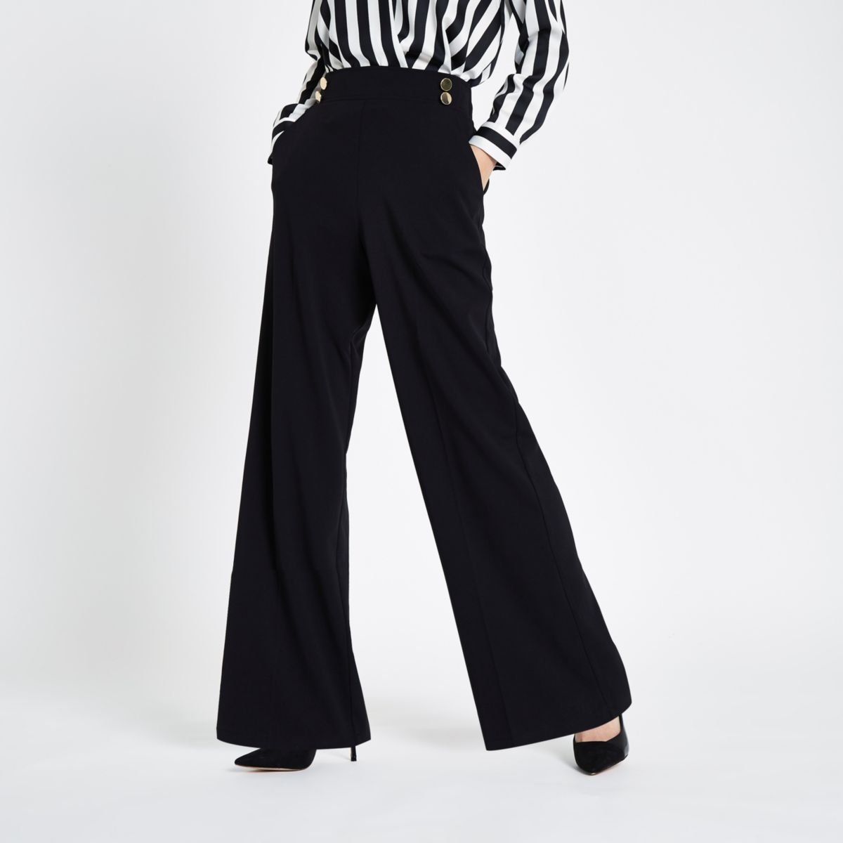 Black double button wide leg pull on pants