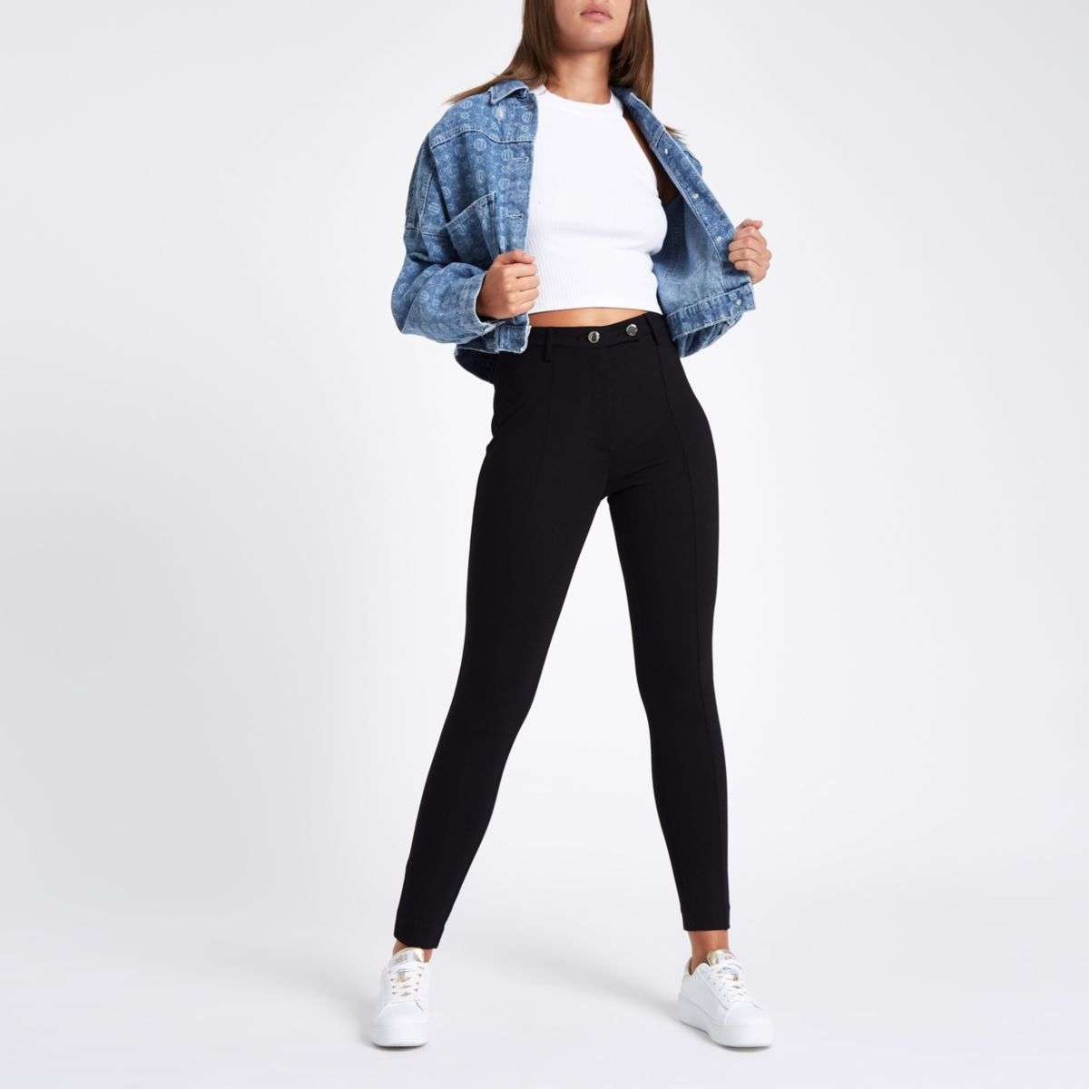 Black high waisted fitted trousers