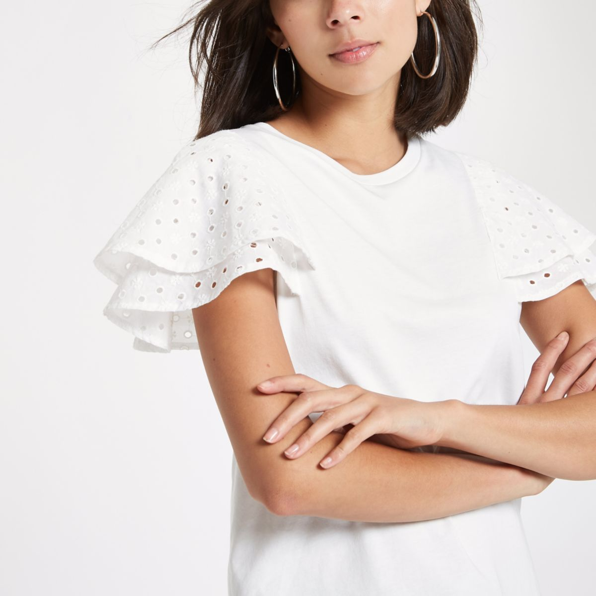 White broderie frill sleeve T-shirt