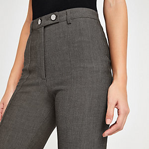 Grey herringbone high waist trousers