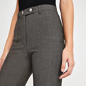 Pantalon taille haute motif chevron gris