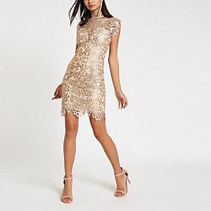 Forever Unique – Bodycon-Kleid aus Spitze in Beige