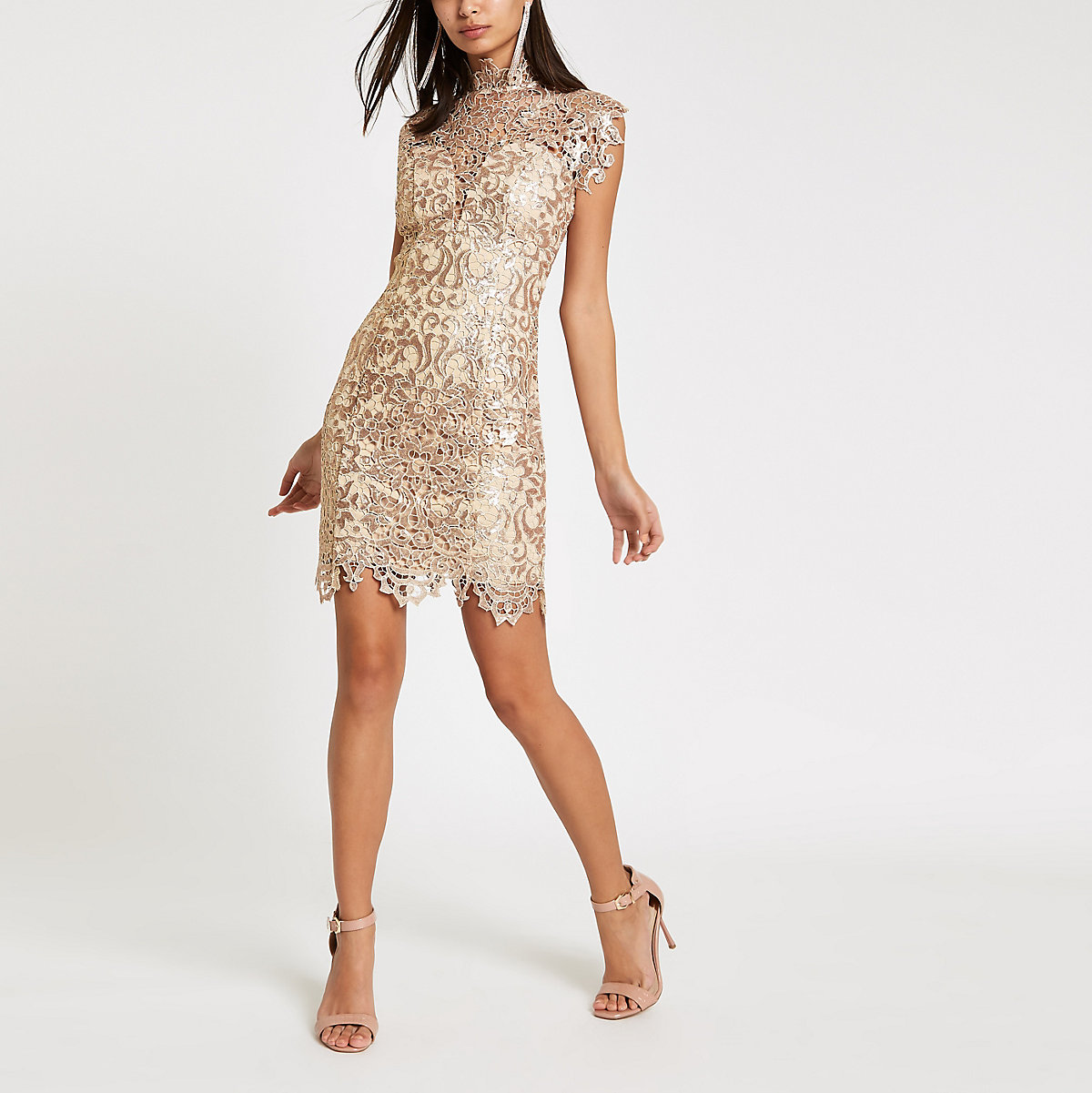 Forever Unique beige lace bodycon dress