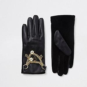 Zwarte leren handschoenen met RI-logo en ketting