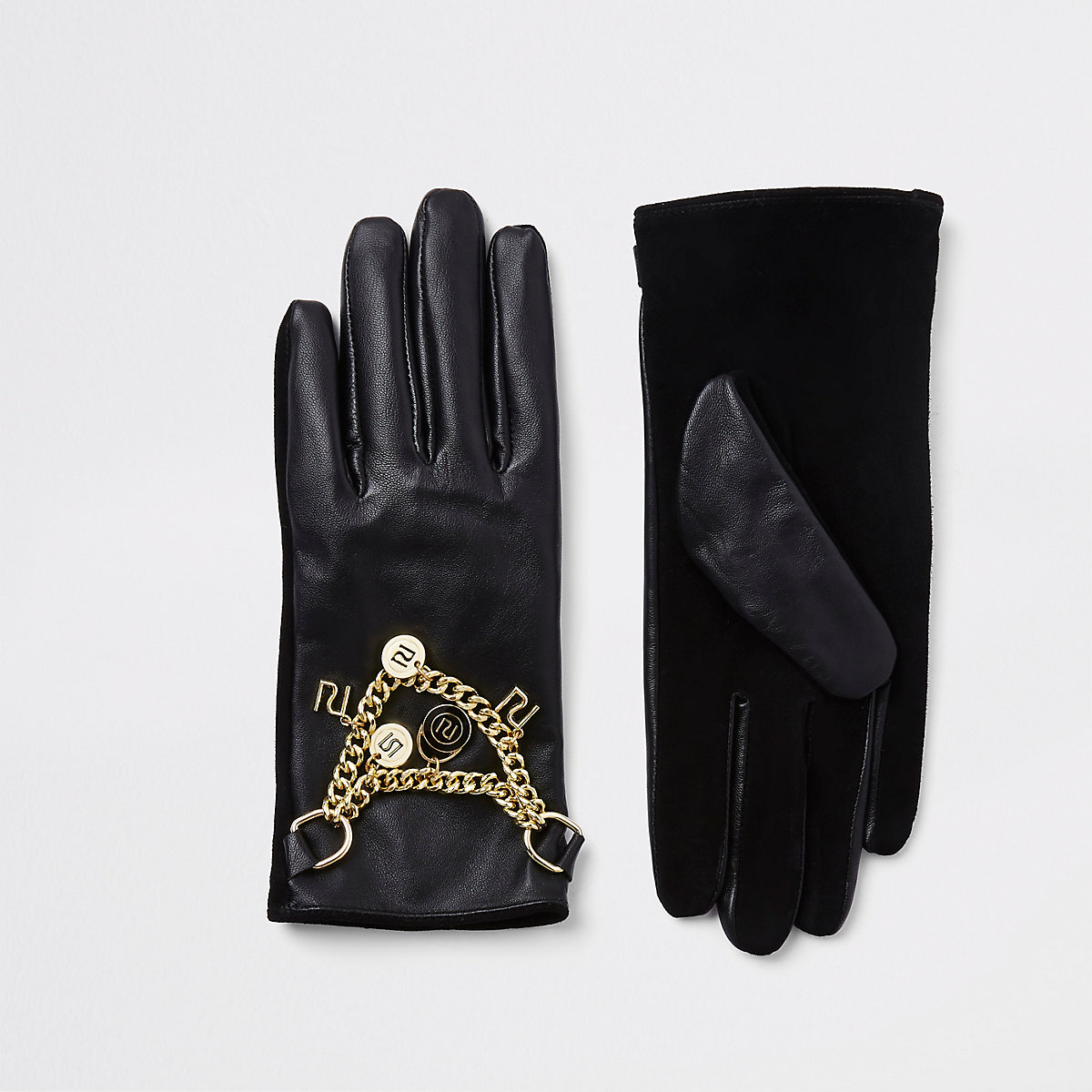 Black RI leather chain gloves