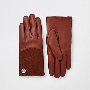 Braune, gesteppte Lederhandschuhe