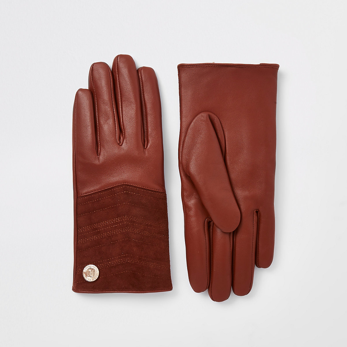 Brown leather quilted gloves