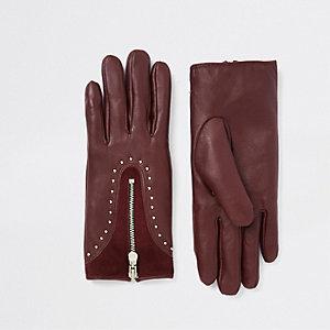 Dark red leather studded zip gloves