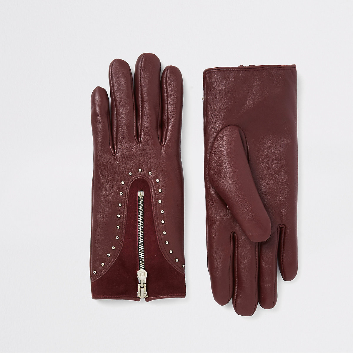 Dark red leather studded zip gloves