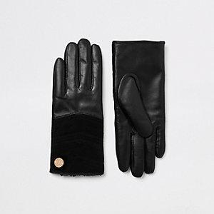 Zwarte leren gewatteerde handschoenen