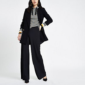 Black wide leg pull on trousers