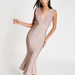 Forever Unique pink peplum bodycon midi dress