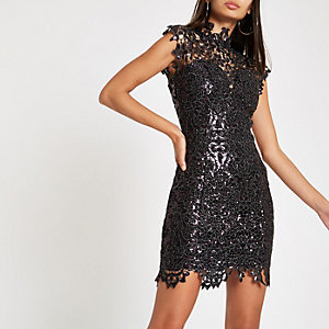 Forever Unique purple lace bodycon dress