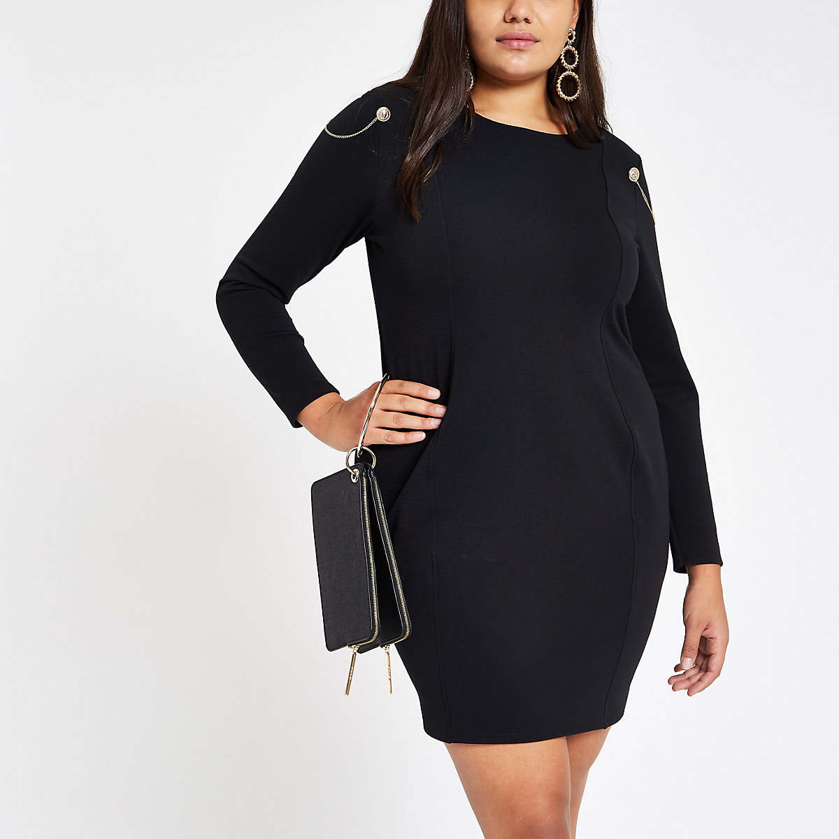 Plus black ribbed bodycon dress