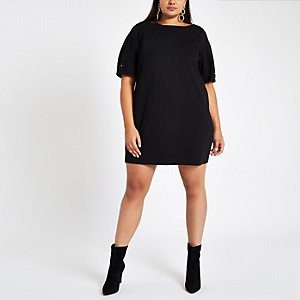 Plus black ponte swing dress