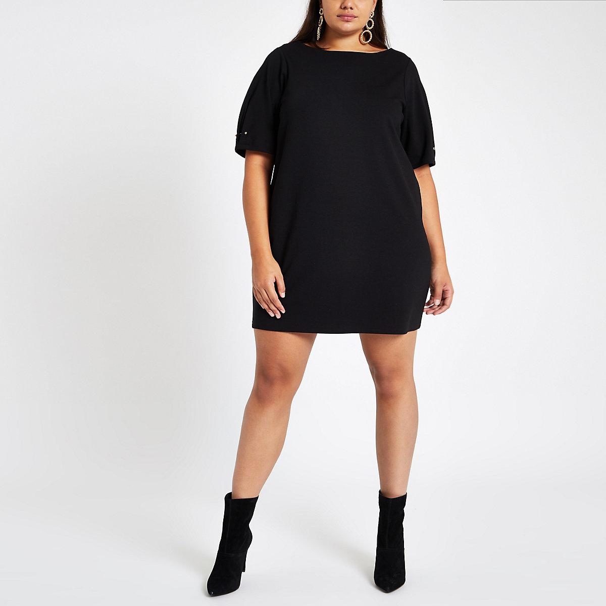 Plus black ponte swing dress