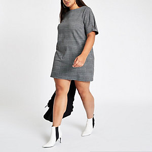 Plus grey check ponte swing dress