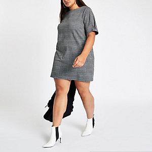 Plus – Grau kariertes Swing-Kleid