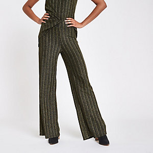 Gold glitter pleated wide leg trousers