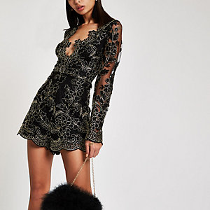 Forever Unique black and gold lace playsuit