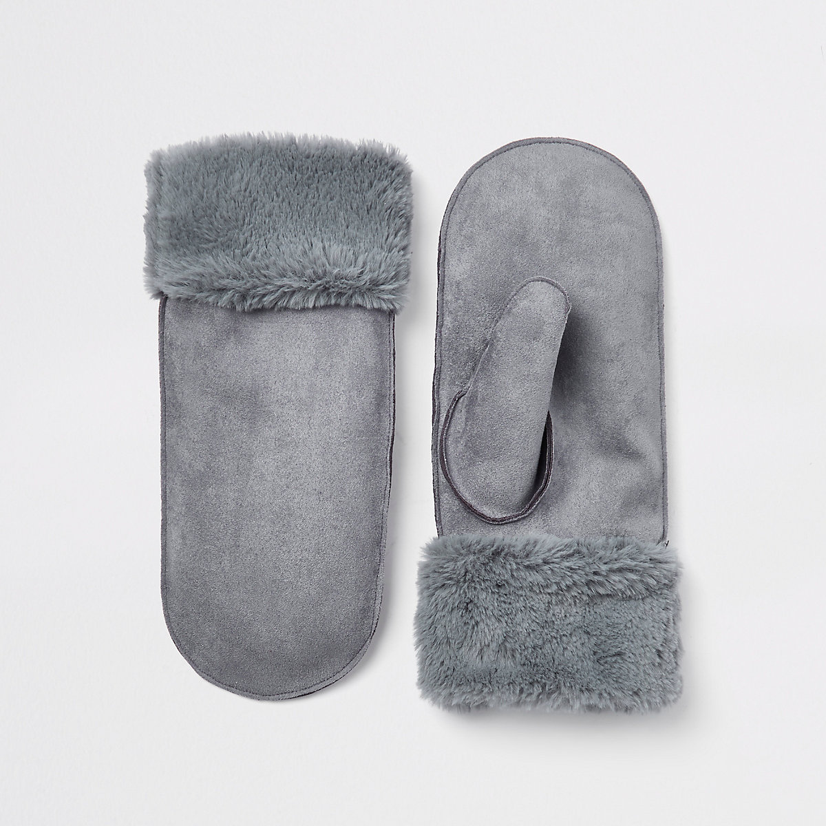 Light blue faux fur lined shearling mittens