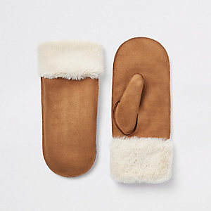 Brown faux fur lined shearling mittens