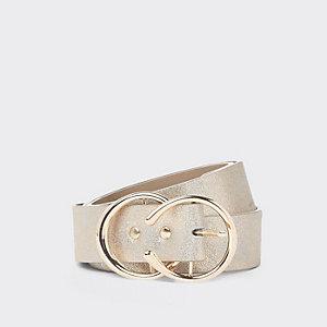 Goudkleurige jeansriem met dubbele ring en glitter