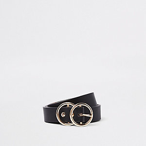 Black double circle mini jeans belt