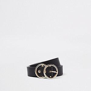 Mini - Zwarte jeansriem met dubbele cirkel