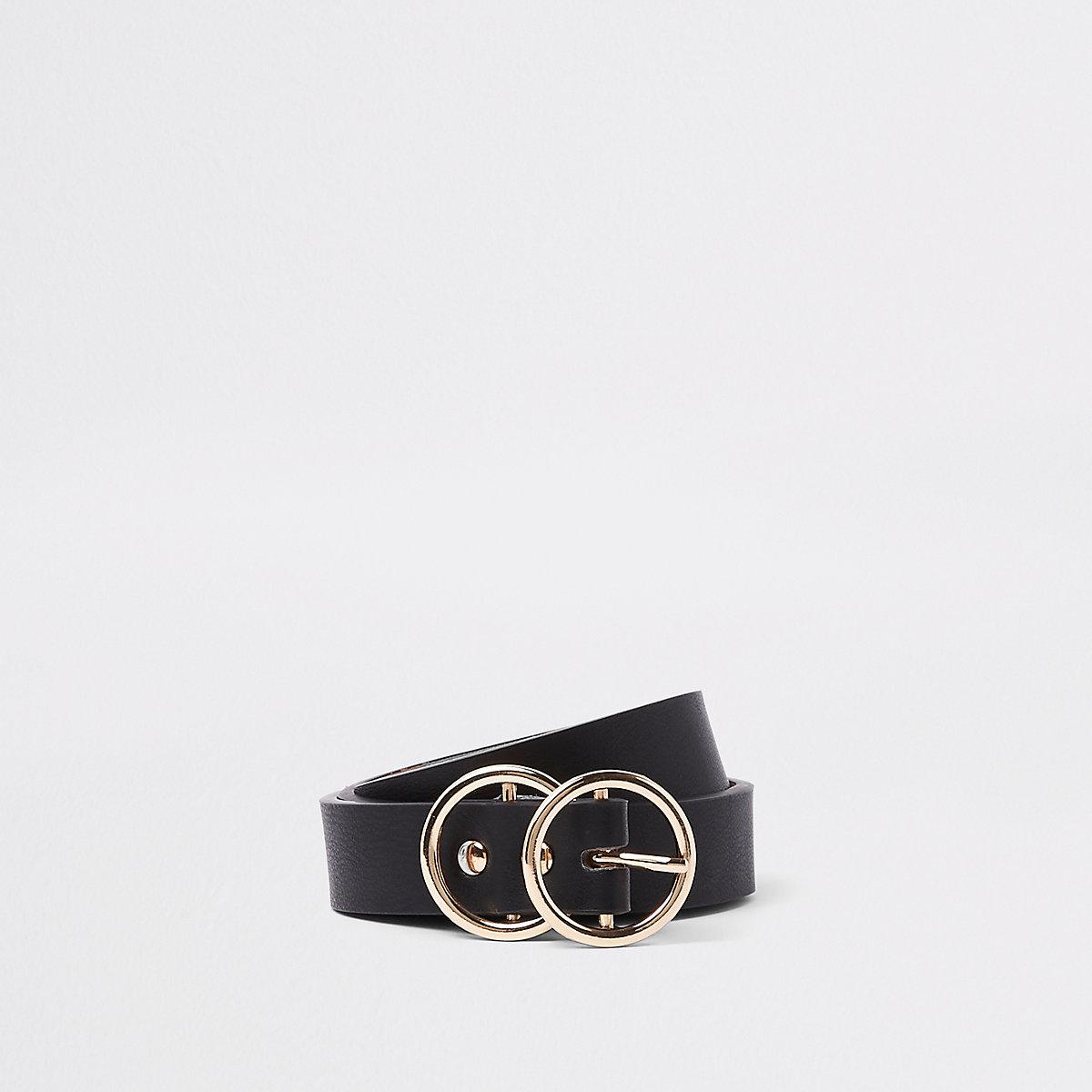 Zwarte mini-jeansriem met dubbele ring