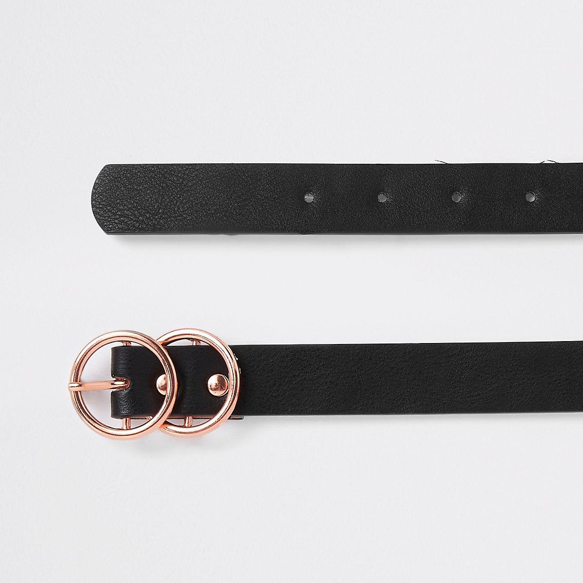 Black rose gold tone double ring mini belt