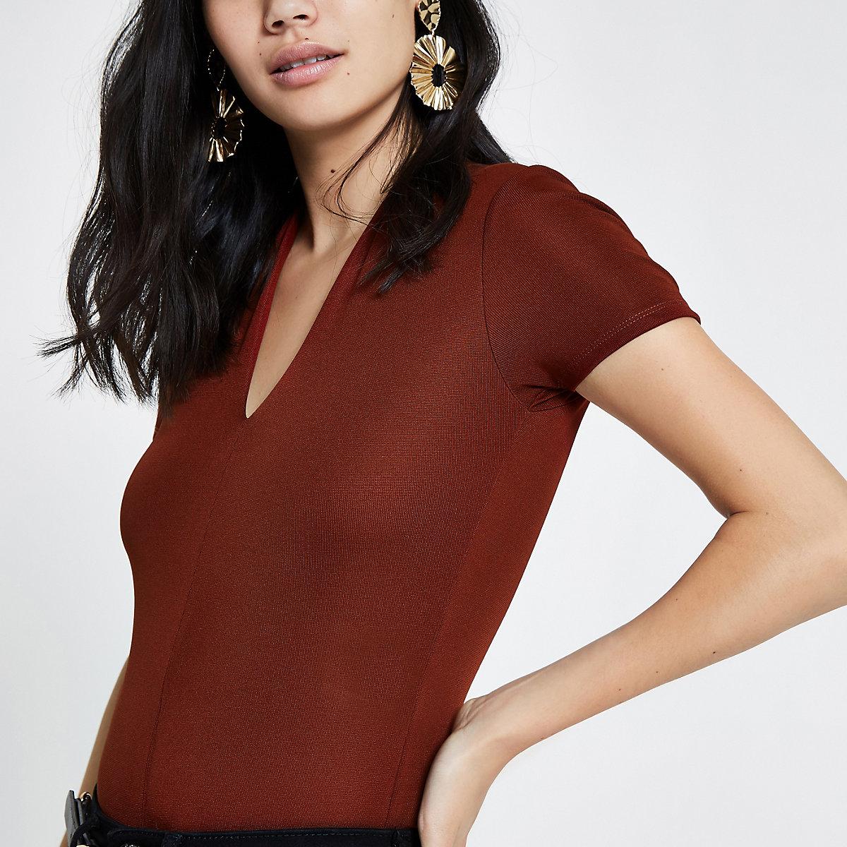 Dark red v neck fitted bodysuit