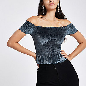 Crop top Bardot en velours bleu