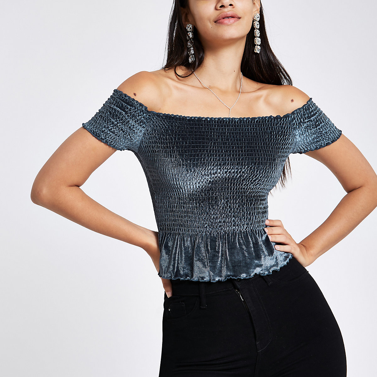 Blue velvet bardot crop top