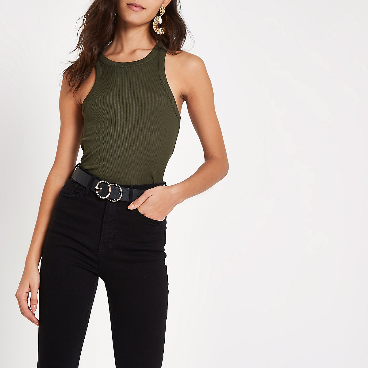 Khaki green ribbed cut away tank