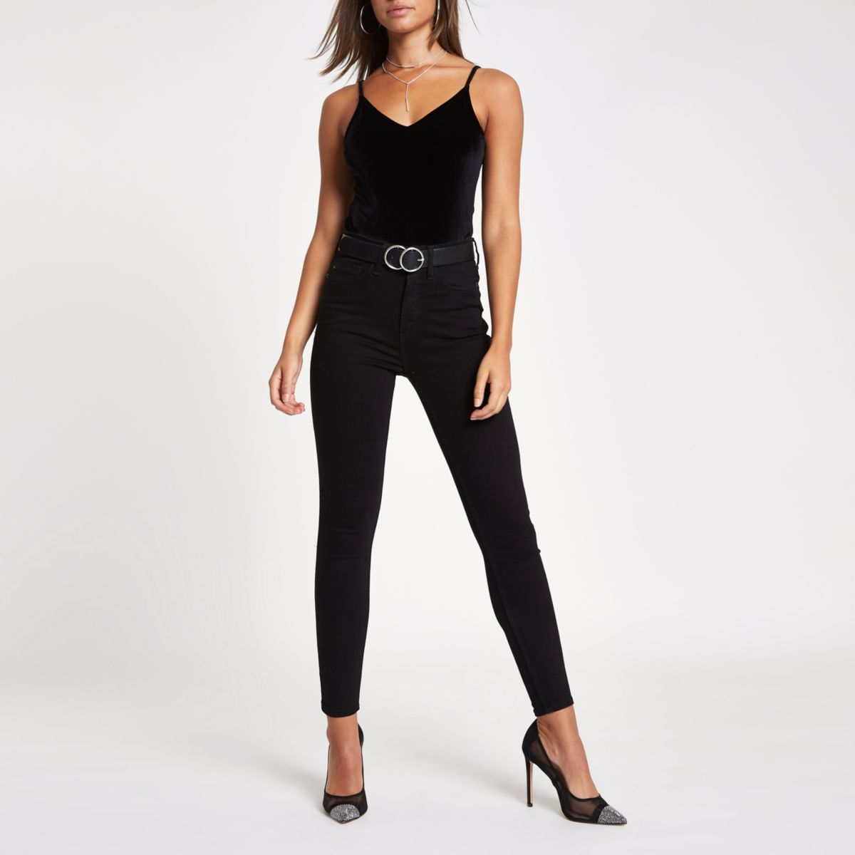 Black velvet V neck cami body