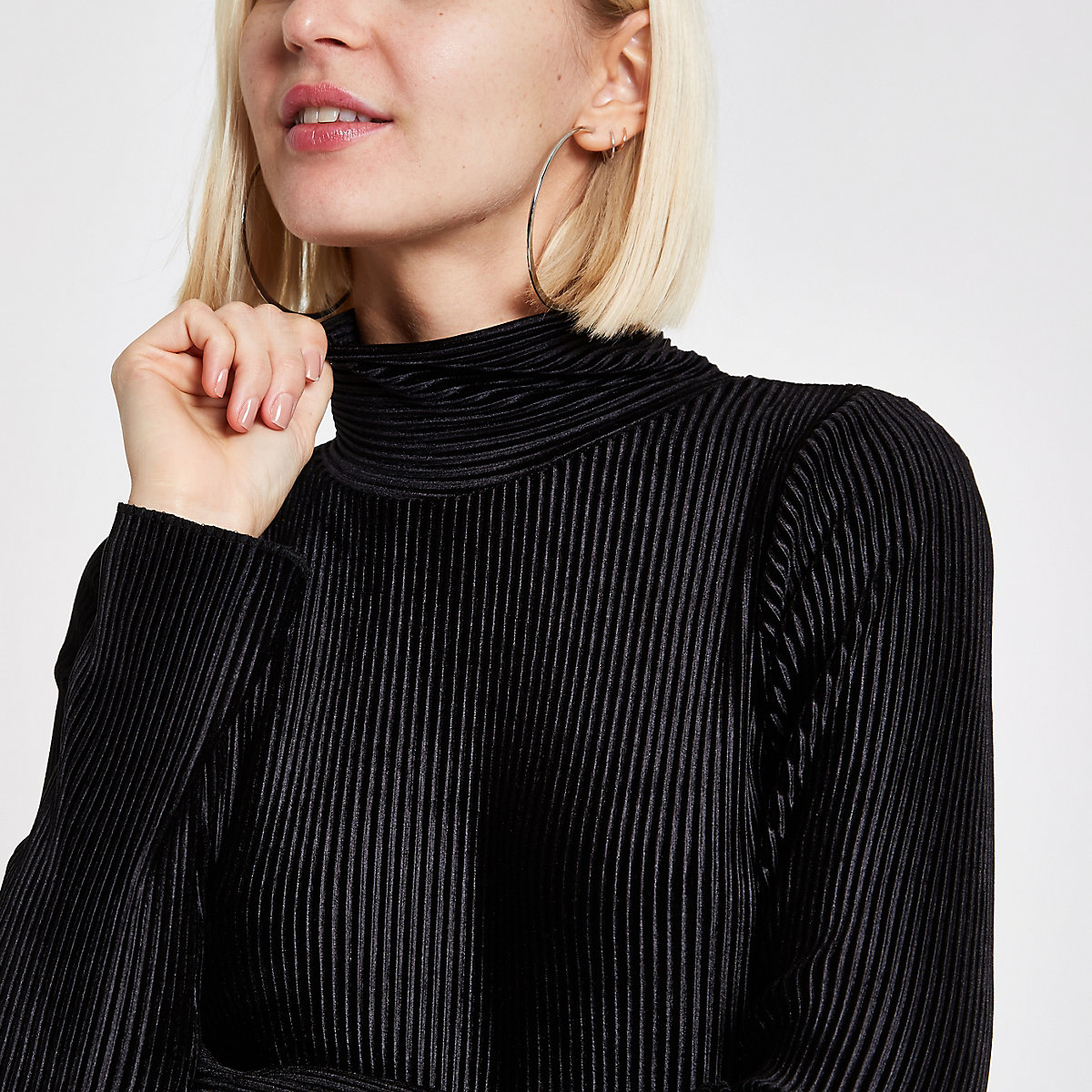 Black plisse high neck top